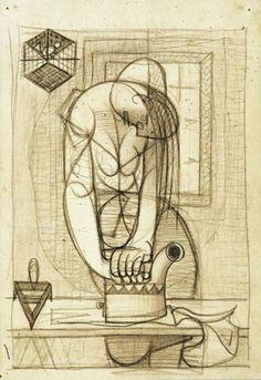 A Engomadeira, 1938 Fine Art Drawing, Drawing Prints, Art Painting, Drawings, Linocut Prints, Illustration Art, Geometric Sculpture, Visual Art, Art