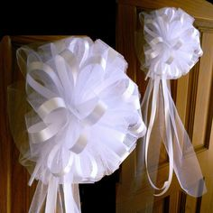 These White Pew Bows present a very romantic look! Beautiful, unique, fully fluffed, ready to hang wedding pew, church, shower, or reception bows.