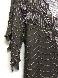 Black Vintage Sequin Top Real Statement piece and perfect for a party No Size S Measures 18 Inches pit to pit 100% pure silk Please see photographs Sold as seen Sequin Top, Slow Fashion, 100 Pure, Pure Silk, Photographs, Sequins, Pure Products, Party, Model