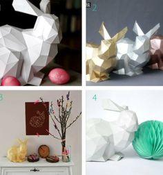 3D Papír nyúl szobor - húsvéti dekoráció ( nyomtatható )