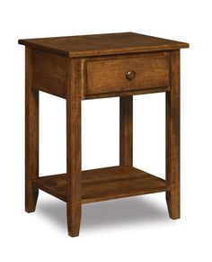 Amish Shaker One Drawer Open Nightstand Stylish for master bedroom or guest room. One handy drawer and one lower shelf in elegant shaker style. Option to add a nightlight that illuminates the floor under the nightstand. #nightstand #bedroom #woodbedroomfurniture