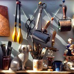 The studio of Ed Kluz, artist, designer, illustrator and printmaker.