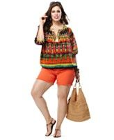 Plus Size Summer Vacation Printed Tunic and Shorts Look