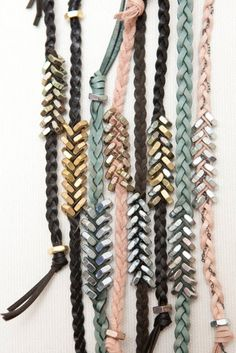 Nuts and bolts bracelets, good idea for weaving, trim idea possible detail for shoulders and necklines