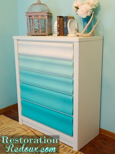 turquoise gradient painted dresser (So cute, and you never have to remember which drawer went where...)