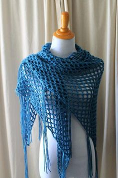 """Crocheting: Sweet Mesh Shawl-Caron Simply Soft yarn (a skein plus a tiny bit of another..so 1.3??) """"Ocean"""" I hook"""