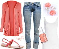 """Coral & Denim Spring Outfit"" by natz85 on Polyvore"