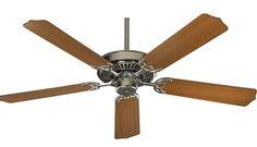 52 Inch Quorum 5 Blade Ceiling Fan Capri I Satin Nickel