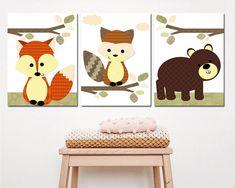 space art print - Baby Nursery Decor, Baby Boy Nursery print Canvas Art Kids Art Baby Room Decor Bear Fox artwork set of 3 Orange Raccoon