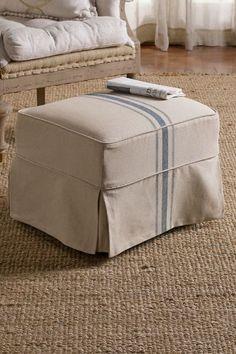 Slipcovered Tristan Ottoman - Slipcover Ottoman, Linen Covered Ottoman, Matching Ottoman | Soft Surroundings