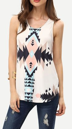 Love love love! Can be worn casually with shorts or dressed up with a blazer and slacks. Great day to night accessory! Geometric Print In White Tank Top at shein.com.
