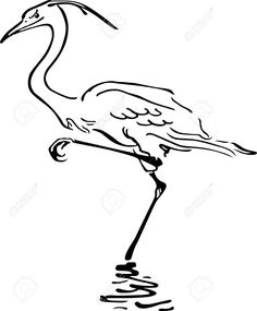 11938873-Bird-standing-on-one-leg-in-the-water-Stock-Vector.jpg (1075×1300)