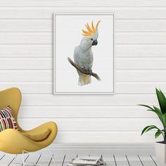 Cockatoo Print, Australian Parrot Print, Tropical Bird Wall Art, Exotic Bird Poster, Tropical Parrot Decor, Cockatoo Illustration, PRINTABLE