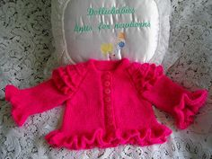 Ravelry: Micro Preemie/0-3 Month Baby Girls Frilly Cardigan pattern by Lynne Christie