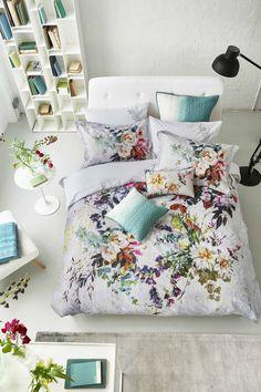 Designers Guild Aubriet bedlinen and dip dyed celadon accessories