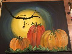 Pumpkin Canvas Painting, Moon Painting, Autumn Painting, Autumn Art, Painting & Drawing, Canvas Paintings, Canvas Art, Fall Arts And Crafts, Pumpkin Art
