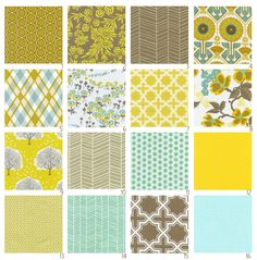 Joel Dewberry, Modern Meadow in Timber.  LOVE this color palette.  To bits.  Aqua and yellow