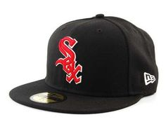 "New Era 5950 Chicago White Sox ""Black/Scarlet/White"" Fitted Hat (Black) Cap Sports Caps, Sports Fan Shop, Mlb, Cubs Hat, New Era Hats, New Era 59fifty, Fitted Caps, Chicago White Sox, Snapback Hats"