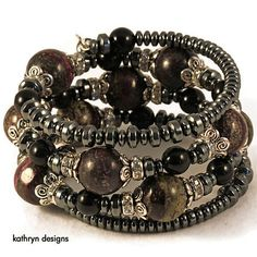Boho wrap bracelet with charoite stone beads by KathrynDesignsArt