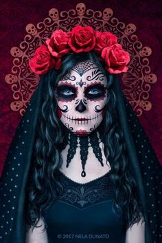 Santa Muerte by Nela Dunato Santa Muerte is a Mexican patron saint of Death, celebrated on the Day Of The Dead. She is associated with healing, protection, and safe delivery to the afterlife. Sugar Skull Halloween, Sugar Skull Mädchen, Sugar Skull Makeup, Sugar Skull Costume, Day Of The Dead Mask, Day Of The Dead Skull, Day Of The Dead Woman, Mexico Day Of The Dead, Mexican Skulls