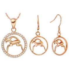 Original Silver-Plated Cubic Zirconia The Zodiac Capricorn Women's Jewelry Set(Necklace,Earrings)(Gold,Silver)
