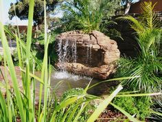 An amazing selection of personal waterfalls and fountains for your backyard makeover, including cascading water features and self-contained outdoor waterfall ponds. Rock Waterfall, Garden Waterfall, Stone Water Features, Swimming Pool Waterfall, Outdoor Waterfalls, Cascade Water, Backyard Makeover, Garden Features, Pool Landscaping