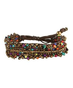 Loving this Bronze & Rainbow Seed Bead Bracelet on #zulily! #zulilyfinds