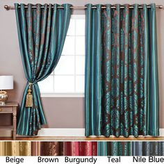 These luxurious 84-inch wide curtains turn any space into an oasis of style and elegance. Crafted from high-shine fabric with contrasting damask and stripe patterns, the panels feature a floor-length design that transforms the look of your windows.