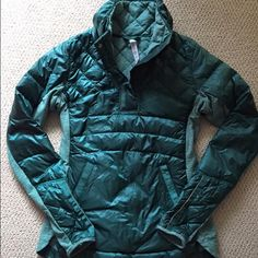 Lululemon Down For A Run Pullover Color is forage teal. Worn twice 120 ️️ lululemon athletica Jackets & Coats