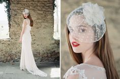 love this chic hairpiece and claire pettibone dress!