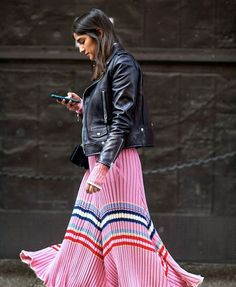 An Edgy Way To Wear The Bubblegum Stripe Trend Find out how to tone down this ultra feminine fad.