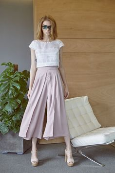 Zip culotte με crop top, από βαμβακερή δαντέλα και εταξωτή οργάτζα