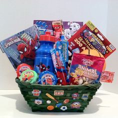 Valentines Day, Birthday Spider-Man Gift Basket for a Boy Valentines Day Birthday, Birthday Gifts For Kids, Taffy Candy, Kids Gift Baskets, Adventure Gifts, Animal Crackers, Mini Bottles, Wedding Catering, Custom Cakes
