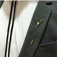 Hot Christmas Men Brooch Pins Deer Head Thorn Pin Collar Pin Wholesaler Reseller Christmas Jewelry Gifts Z07