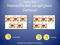 Hoeveelheden vergelijken Thema Carnaval Theme Carnaval, Circus Clown, School Themes, Primary School, Teaching, Winter, Projects, Clowns, Winter Time