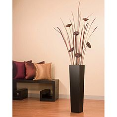 overstock lotus pods and tall dried grasses fill this unique floor vase this - Decorative Floor Vases