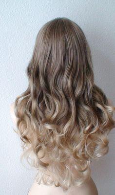 Brown / Dirty blonde / Ash Blonde Ombre wig. Long by kekeshop
