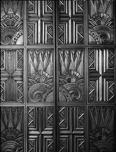 "Here's a look at the cast-bronze doors of the elevators in the Richfield Oil Company building, built in 1929. They were much admired -- and one look at this photo shows why. The beautiful design of these black-and-gold doors captures the roar of the 'twenties, with an Art Deco splendor that is hard to beat. After the building was demolished in 1969, the doors were put on display in the building that replaced it. ""Sabotage at RKO Studio,"" a James Murray Mystery, by Christopher Geoffrey…"