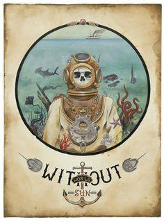 Diver skeleton illustration
