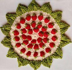 "Point de Crochet ""Strawberry"" - Tutorials - Crochet et plus.Crochet et plus… Crochet Motifs, Crochet Potholders, Crochet Stitches, Crochet Hooks, Crochet Patterns, Tunisian Crochet, Strawberry Pots, Crochet Strawberry, Crochet Crafts"