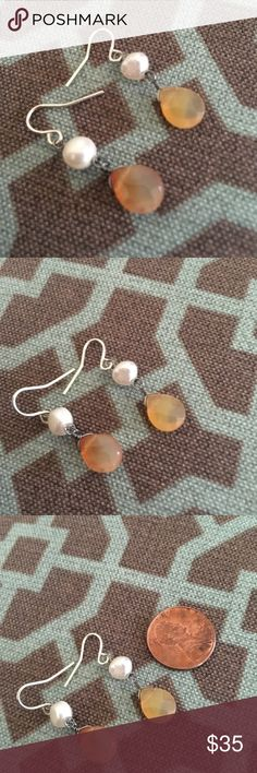 Agate and freshwater pearl drop earrings Agate and freshwater pearl drop earrings Jewelry Earrings