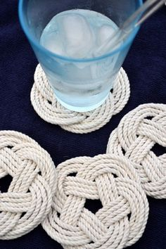 Protect your surfaces in style with these nautical knotted rope coasters.