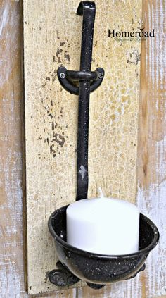 Enamelware Ladle Candle Holder on a Board with Beautiful Natural Patina! www.homeroad.net
