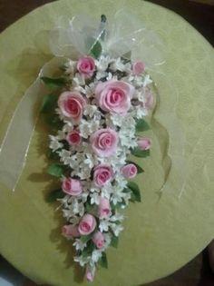 ramo de rosas ramo de novia cerámica en frío,alambre,pegamento modelado