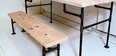 HomeMade Modern DIY Wood + Iron Bench