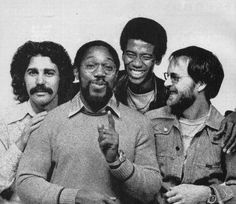 """ALPHONSO JOHNSON with STEVE KHAN, BILLY COBHAM and TOM SCOTT. Promo picture for 1978 Columbia's """"Alivemutherforya"""" LP © CBS, Inc."""