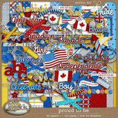 Proud to Be - Full Kit by K Studio #kstudio #scrapbooking #digitalscrapbooking #4thofjuly #american #canadian #british
