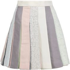 Thom Browne Pleated linen mini skirt ($640) ❤ liked on Polyvore featuring skirts, mini skirts, bottoms, grey, short pleated skirt, linen skirt, mini skirt, colorful skirts and gray skirt