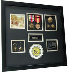 U.S. Army Shadow box (http://www.militarymemoriesandmore.com/us-army-shadow-box/)