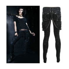 Men Women Black Slim Fit Boot Cut Military Style Punk Rocker Pants... ❤ liked on Polyvore featuring men's fashion, men's clothing, men's pants, men's casual pants, mens boot cut pants, mens bootcut pants, mens punk pants, mens slim pants and mens slim fit pants